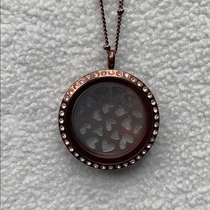 """Origami Owl Bronzed locket with 18"""" chain."""